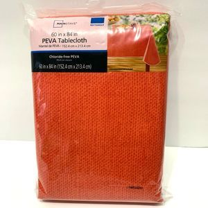Mainstays Line Print Tablecloth 60 x 84 Coral New